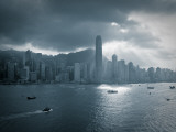 Skyline of Hong Kong Island Viewed across Victoria Harbour  Hong Kong  China