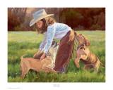Un amour de chiot Reproduction d'art par June Dudley