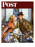 """""""Before Dinner Kiss """" Saturday Evening Post Cover  April 9  1949"""