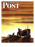 """Tractors at Sunset "" Saturday Evening Post Cover  October 3  1942"