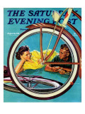 """Bicycle Ride "" Saturday Evening Post Cover  August 16  1941"