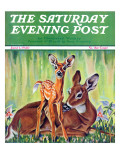 """Doe and Fawn in Forest "" Saturday Evening Post Cover  June 1  1940"