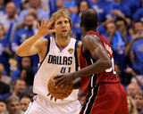 Miami Heat v Dallas Mavericks - Game Four  Dallas  TX -June 7: Dirk Nowitzki and Joel Anthony