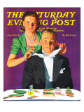 """""""Tying a Tux Tie """" Saturday Evening Post Cover  April 26  1941"""