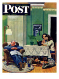 """After Dinner at the Farm "" Saturday Evening Post Cover  March 27  1948"