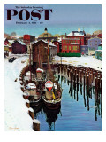 """Gloucester Harbor in Winter "" Saturday Evening Post Cover  February 4  1961"