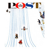 """Sledding Designs in the Snow "" Saturday Evening Post Cover  February 3  1962"