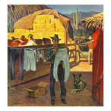 """Cowboy Hanging Out His Laundry "" March 1  1947"