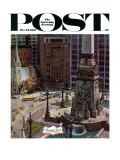 """Monument Circle "" Saturday Evening Post Cover  October 28  1961"