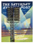 """Baseball Stadium at Night "" Saturday Evening Post Cover  June 28  1941"