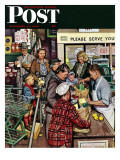 """Grocery LIne "" Saturday Evening Post Cover  November 13  1948"