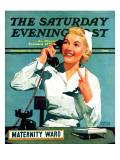 """Maternity Ward "" Saturday Evening Post Cover  December 14  1940"