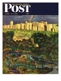 """Central Park Rainbow "" Saturday Evening Post Cover  April 30  1949"