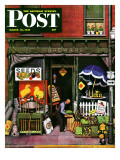 """Hardware Store at Springtime "" Saturday Evening Post Cover  March 16  1946"