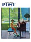 """Poolside Piano Practice "" Saturday Evening Post Cover  June 11  1960"
