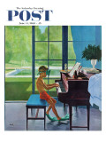 """Poolside Piano Practice,"" Saturday Evening Post Cover, June 11, 1960 Giclée par George Hughes"