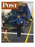 """Traffic Cop "" Saturday Evening Post Cover  September 3  1949"