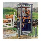 """Cub Scouts in Phone Booth,"" August 26, 1961 Giclée par Richard Sargent"