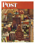 """Bird's-Eye View of New York City "" Saturday Evening Post Cover  August 17  1946"
