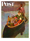 """""""Canoe Fishing Trip """" Saturday Evening Post Cover  July 12  1947"""