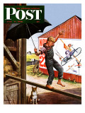 """Walking the Tightrope "" Saturday Evening Post Cover  June 11  1949"