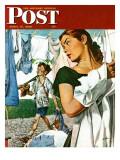 """More Clothes to Clean,"" Saturday Evening Post Cover, April 17, 1948 Giclée par George Hughes"
