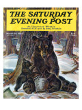 """Bears Eating Maple Syrup "" Saturday Evening Post Cover  March 28  1942"