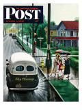 """Muddied by Dry Cleaning Truck "" Saturday Evening Post Cover  October 2  1948"