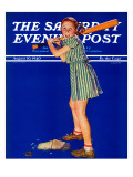 """Girl at Bat,"" Saturday Evening Post Cover, August 10, 1940 Giclée par Douglas Crockwell"