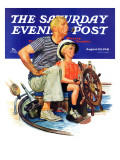 """Father Teaching Son to Sail "" Saturday Evening Post Cover  August 30  1941"