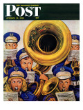 """March Band at Football Game "" Saturday Evening Post Cover  October 19  1946"