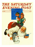 """Santa and the Robot "" Saturday Evening Post Cover  December 1  1983"