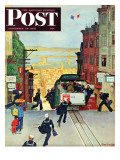 """San Francisco Cable Car "" Saturday Evening Post Cover  September 29  1945"