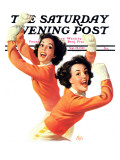 """Twin Cheerleaders "" Saturday Evening Post Cover  September 28  1940"