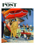 """""""Business at the Beach """" Saturday Evening Post Cover  January 23  1960"""