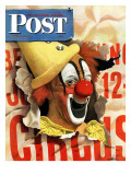 """""""Circus Clown and Poster """" Saturday Evening Post Cover  July 8  1944"""