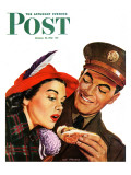 """Hot Dog for a Hot Date "" Saturday Evening Post Cover  October 10  1942"