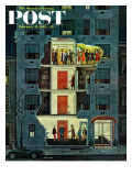 """Party Holding Up the Elevator "" Saturday Evening Post Cover  February 25  1961"