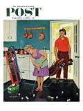 """Putting Around in the Kitchen,"" Saturday Evening Post Cover, September 3, 1960 Giclée par Richard Sargent"