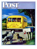 """School Bus "" Saturday Evening Post Cover  September 2  1944"