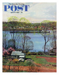 """Ohio River in April "" Saturday Evening Post Cover  April 15  1961"