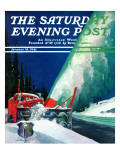 """Highway Snowplow "" Saturday Evening Post Cover  January 18  1941"