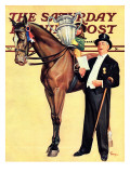 """Big Trophy  Little Girl "" Saturday Evening Post Cover  November 9  1940"