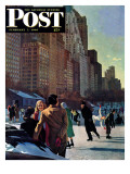 """Skaters in Central Park "" Saturday Evening Post Cover  February 7  1948"