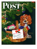 """Doggy Basket "" Saturday Evening Post Cover  December 19  1942"