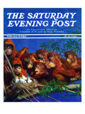 """Orangutans & Bird Nest "" Saturday Evening Post Cover  February 17  1940"