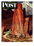 """Sailor Comes Home to Mountain Ranch "" Saturday Evening Post Cover  August 25  1945"