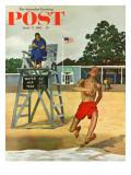 """Cold Water Swimmer,"" Saturday Evening Post Cover, June 17, 1961 Giclée par Richard Sargent"