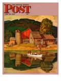 """Farm Pond Landscape "" Saturday Evening Post Cover  July 28  1945"