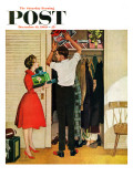 """Christmas in Hiding,"" Saturday Evening Post Cover, December 10, 1960 Giclée par George Hughes"